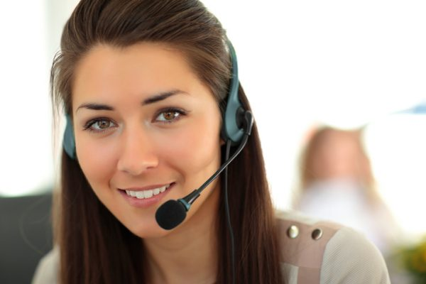 Smiling customer support representative